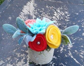 """Felt Flowers in Birchwood 3"""" Vase"""