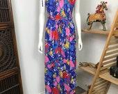 Vtg 70s floral rainbow maxi caftan dress summer