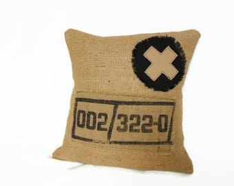 Pillow cover canvas jute and cotton, industrial style cushion 40 x 40 cm by Pleasant Home