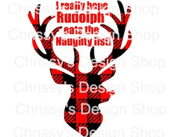 Buffalo plaid deer svg / Rudolph silhouette svg / Christmas designs svg / holiday cut files / deer cut files / dxf / eps / deer clip art