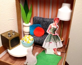 Miniature Dollhouse Room Box for Paper Dolls