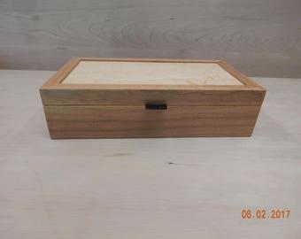 Small cherry box with birds-eye maple top, ebony lid lift
