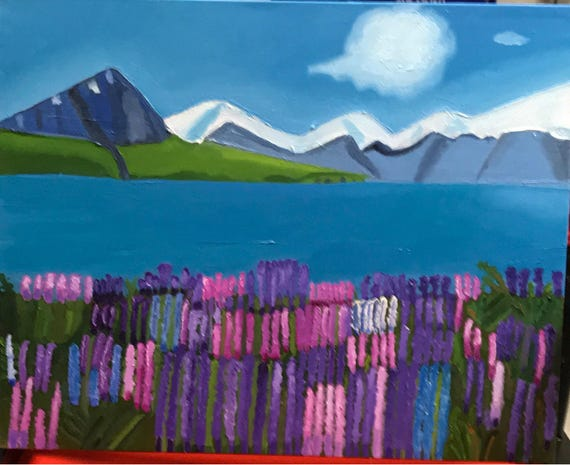 "Mountains and Flowers.  Oil painting.  16 x 20"".1 1/2"" gallery wrapped.   It was a fun piece.  Time consuming but i like the results."