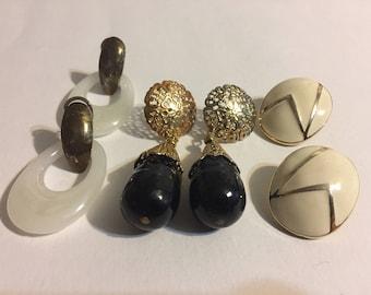 Lot Stud Earrings - Vintage Earrings - Retro Earrings - Beige - Black - White - Dangle
