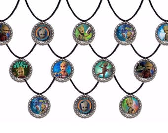 12x Baby Groot I am groot party favor necklaces