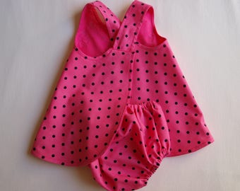 Handmade Bright Pink with Black Dots,  Reversible Baby Pinafore,Sun Dress, Baby Dress, Summer Dress, Cotton Jumper Dress, Toddler Dress