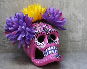 Day Of The Dead Paper Mache Sugar Skull, Dia De Los Muertos Skull, Memento Mori, Santa Muerte Altar Skull, Hoodoo Conjure Altarpiece
