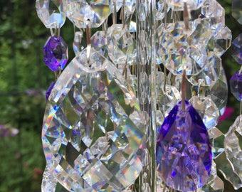 Garden Crystal Jewelry Windchime Blue Violet Sparkle Windchime