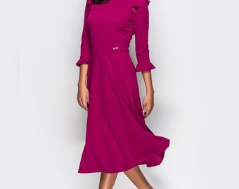 Magenta Dress fall pin up Midi dress holiday Spring dress womens dress 3/4 sleeve Flared dress Jersey dress pink Wings dress royal blue