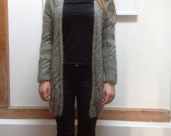 Verschlusslose Cardigan Sweater coat vest cashmere Merino Wool mohair silk Virginwool hellkhaki grege