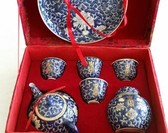 vintage cloisonne chinese oriental teapot saki set - blue white w/ red fabric display box - asian tea cups tea pot serving embossed designs