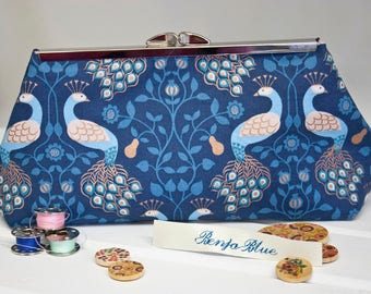 Clutch Bag - Purse - Hand Bag - Accessory Bag - Toiletry Bag - Handmade bag featuring gorgeous peacock fabric with metallic accents