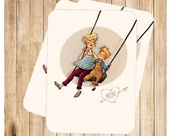 """""""Love Mom"""", carte postales pour la fête des mères."""