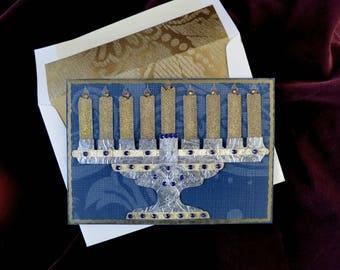 3D Menorah card, 3D Hanukkah card, luxury Hanukkah card, Judiaca, luxury Jewish card, Jewish card, Jewish holiday card, luxury menorah card