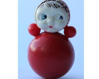 Soviet roly-poly toy. Nevalyashka. Vintage Celluloid. Tilting doll USSR. tilting doll. Soviet toy