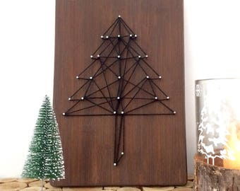 Wooden Christmas tree table chart wire stretched