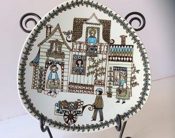 Handpainted silkscreen Turi Figgjo Norway vintage serving plate