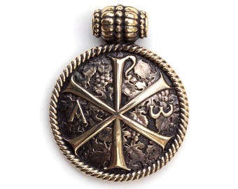 Bronze Pendant Chi Rho Jesus Prayer Chi rho cross Alpha and omega Slavic Christian Jewelry Chi rho pendant Chi rho jewelry Alpha omega cross