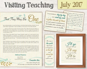 July 2017 Visiting Teaching Message, Relief Society Printable, Instant Download, Message VT LDS handouts, hymn poster