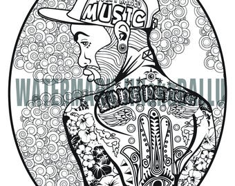 Printable Colouring Page for Adult - Tattoo Man