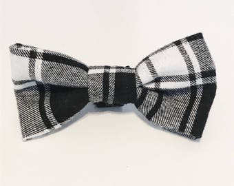 Black and White Plaid Flannel Dog Bow Tie- Black and White Collection- Dog Bow Tie- Plaid Bow Tie