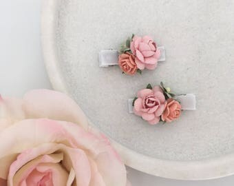 Petites / Baby and girls alligator hair clips / pink pastel peach green  mulberry paper rose easter flower girl wedding headband