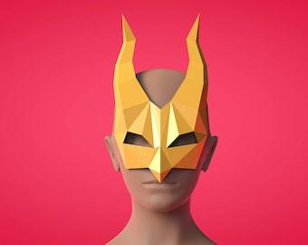 Paper mask, PDF templates, paper tamplates, 3d papercraft, horns mask, horns papercraft, PDF templates, lamaluna, 3d models, DIY patters