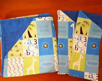 Blue and Green Animal Baby Blanket and Matching Burp Rags