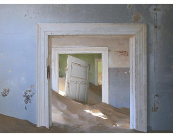 door photography, abandoned house, white door, patina, rustic home decor, fine art photography, Namibia, Africa, blue room, 16x24 art print