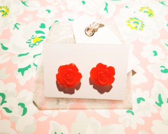 Bright Red Rose Earrings Red Flower Earrings Vintage Embellishment Flower Unique Flower Stud Jewellery Bright Red Earrings Rose Studs Flower