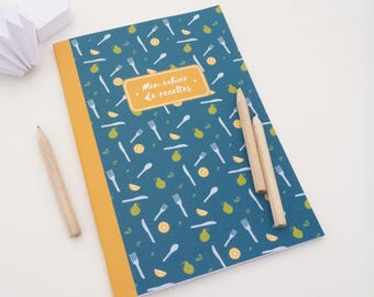 Illustrated lemons, pears and cutlery 14x20cm recipe book