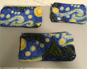 Van Gogh Starry Night Zip Pouches/Pencil Cases (Assorted Sizes)