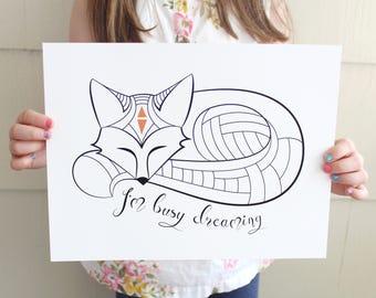 Fox Fine Art Print / I'm Busy Dreaming / Giclee Print / Baby Shower Gift / Woodland Decor / Sleep Quote