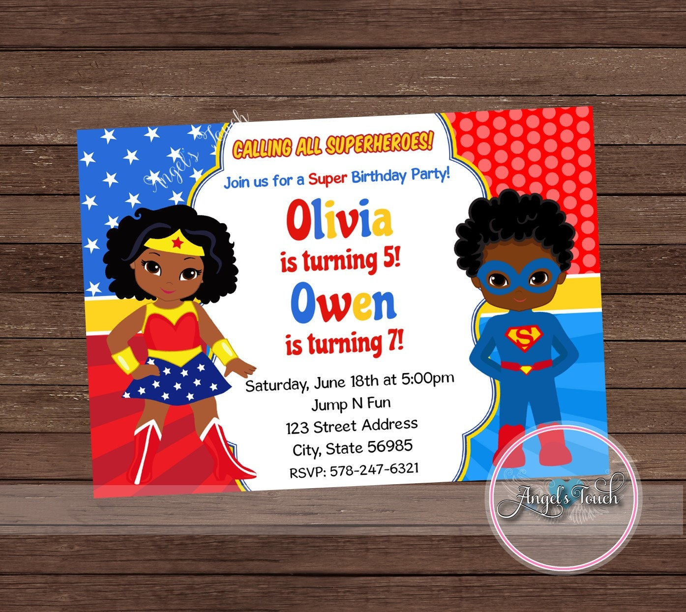 Wonder Woman and Superman Party Invitation Wonder Woman and – Superman Birthday Party Invitations