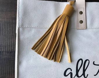 MUSTARD Leather tassel- bag accessories- key chain- luggage tag- bag bling