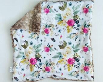 Vintage Rose Watercolor Floral Lovey, Minky Lovey, Faux Fur Lovey, Floral Lovey, Girl Lovey, Rose Lovey, Vintage Floral Lovey, Antique Lovey