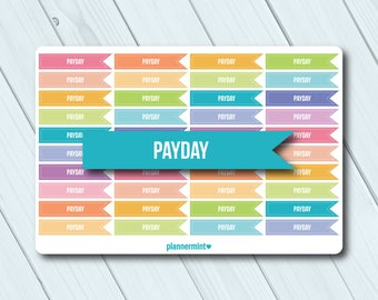 Payday Planner Stickers - Side Flag Headers - Erin Condren Life Planner - Happy Planner - Money - Finance - Pay Day - Matte or Glossy