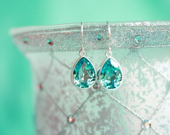 Lux light turquoise pear dangles