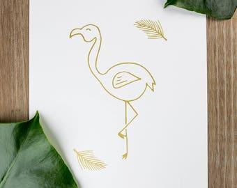 Silkscreen 21x30cm - Flamingo poster