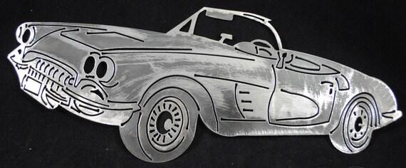 1958 Chevy Corvette 16, Metal Chevy Car, Metal Sports Car, Auto Memorabilia, 1958 Memorabilia, Vintage Art, Collectors Car, Automotive Art