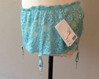 S/M / Garter Belt by Shirley of Hollywood /  Turquoise / Small/Medium