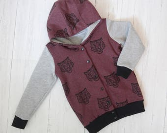 Burgundy Tigers Button front Hoody, Kidswear, Baby Clothes, lined, JMW Kids, Autum jumper, Jersey, boys hoody, Unisex, hoody, button jumper