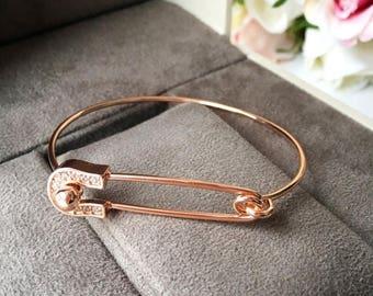 PROMO Gold safety pin bracelet, bangle bracelet safety pin, rose gold safety pin jewelry, safety pin bangle bracelet, silver safety pin brac