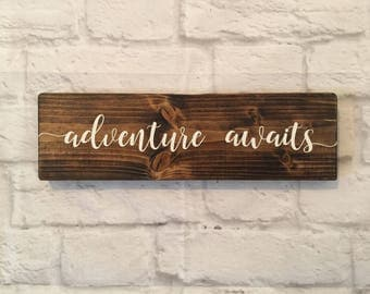 "Adventure awaits Wood sign - Travel Sign - Explorer Sign - Nursery wall decor - Wooden sign - Tavel wall art - Rustic Wood Signs 3.5"" x 12"""