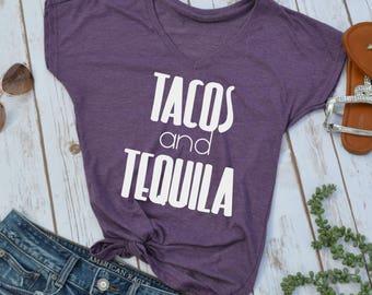 Tacos and Tequila t-shirt- tequila tshirt- taco tshirt- funny taco shirt- funny womens shirt- mexico shirt- vacation shirt- cruise shirt-