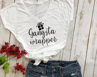 gangsta wrapper t-shirt- christmas tshirt- funny christmas shirt- holiday shirt- christmas shirt- funny christmas tshirt- christmas gift-