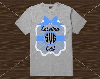 UNC Monogram SVG, Carolina Girl SVG, Tarheels, Go Heels, College svg, Cricut, Sillhouette, Preppy Monogram svg