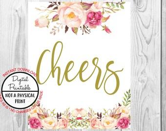 Vintage Gold Floral Boho Cheers Sign, Gold Flower Boho Wedding Sign, Printable, Bridal Shower Sign, Baby Shower Sign, Birthday Sign