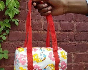 Vintage 1980s 80s Care bears Mini duffle bag handbag american greetings funshine bear Love a lot