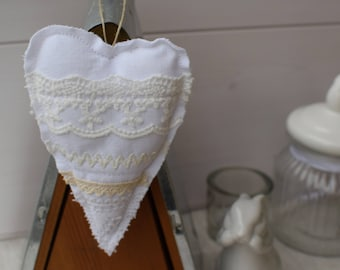 Decorative heart collection of laces - romantic - heart shabby - door hanging heart pillow - hanging heart and white fabric